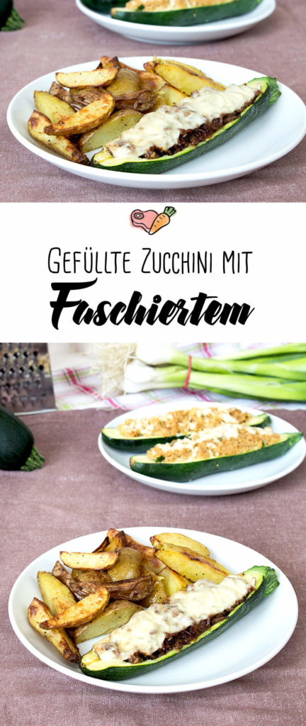 Kombi-Rezept mit & ohne Fleisch: Gefuellte Zucchini klassisch mit Faschiertem