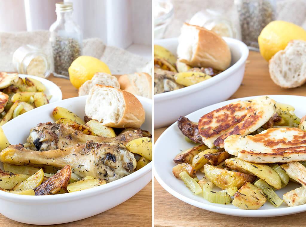 Kombi-Rezept mit und ohne Fleisch: Griechische Kartoffel mit Hähnchen oder Halloumi und Sellerie