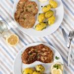 Kombi-Rezept mit & ohne Fleisch: Schnitzel in Haferflocken-Panade vom Kalb oder vegetarisch vom Sellerie